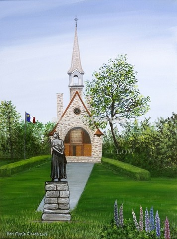 Grand Pre National Historic Site 12x16 - This 17th -18th Century old Acadian Church became the scenic setting for Longfellows narrative poem Evangeline: A Tale of Acadie. It commemorates the Acadians of the Minas Basin and the deportation from Nova Scotia.