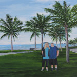Keila and Jeff at beach in Guaratuba Brazil. This painting was done from two photos. Only Keila was at this beach so far. Jeff has not been there with her yet. Keila and Jeff were inserted from one photo into the background from a photo that Keila took when she was in Guaratuba. The next time Jeff is in Brazil he will visit Guaratuba. This painting displays the artist's ability to create a painting by combining a background from one photo and two subjects from another photo!