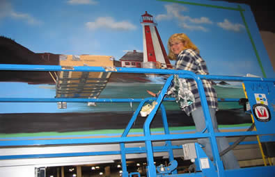 Yarmouth Sobey's Assisted artist Ron Sajac on the Yarmouth Sobeys store mural