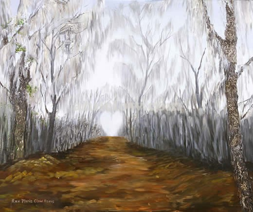 Spirits Ancients Nestled in Virginia Beach, U.S., there is The First Landing State Park that has an area of cypress swamp called the White Brotherhood. Its trees are adorned with hanging moss that is said to hold spirits of long ago. These spirits can be seen throughout my painting.