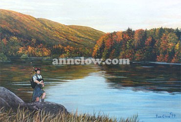 This painting is of the highlands of Cape Breton, N.S. It is one of the most beautiful and scenic places in the world. The culture and music of the Scottish people reflect its heritage.