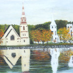 Three Churches These three famous wooden churches, located in Mahone Bay, are one of the most famous scenes photographed in Nova Scotia. These three churches are so distinctive that they are marked by navigation landmarks on the sea charts of Mahone Bay.