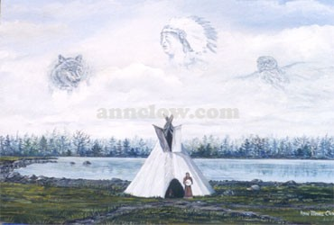 Vision of Spirits In this painting the native woman beats on her drum to call forth the great spirits as a sacred fire burns in the tepee. The wolf symbolizes guardianship, strength, loyalty and inner spirit. The owl symbolizes magic, wisdom and a healing power. The grandfather spirit is a protector and uses the owl and wolf for his medicines and his helpers.